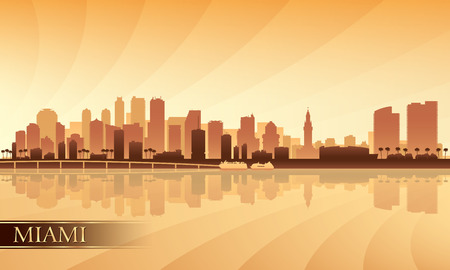 city of miami: Miami city skyline silhouette background, vector illustration