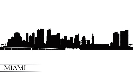 Miami city skyline silhouette background, vector illustration