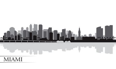 city skyline night: Miami city skyline silhouette background, vector illustration