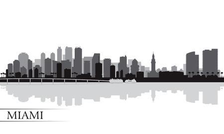 Miami skyline van de stad silhouet achtergrond, vector illustratie