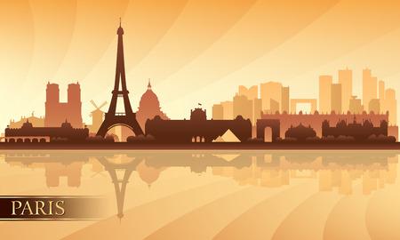 Parijs skyline van de stad silhouet achtergrond, vector illustratie