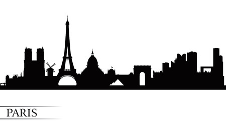 landmarks: Paris city skyline silhouette background, vector illustration