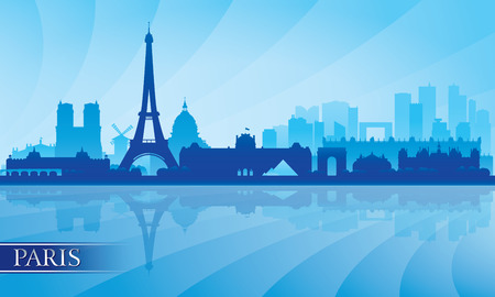 nighttime: Paris city skyline silhouette background, vector illustration