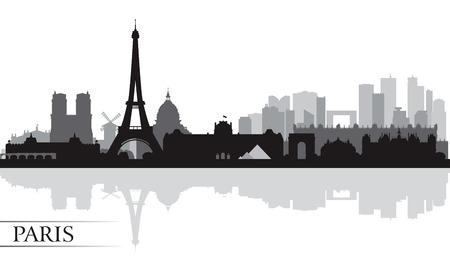 パリ市内のスカイライン シルエット背景、ベクトル イラスト  イラスト・ベクター素材