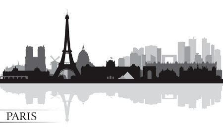 lights on: Paris city skyline silhouette background, vector illustration