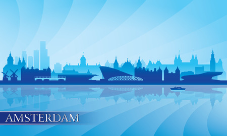 europe cities: Amsterdam city skyline silhouette background, vector illustration
