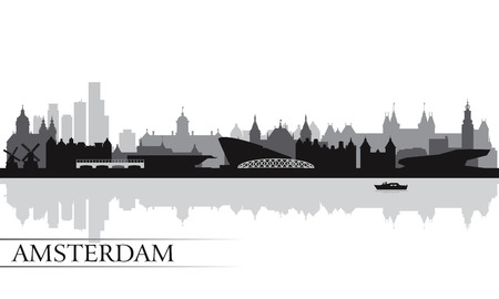 skyline city: Amsterdam city skyline silhouette background, vector illustration