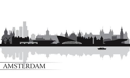 olanda: Amsterdam skyline della citt� silhouette sfondo, illustrazione vettoriale