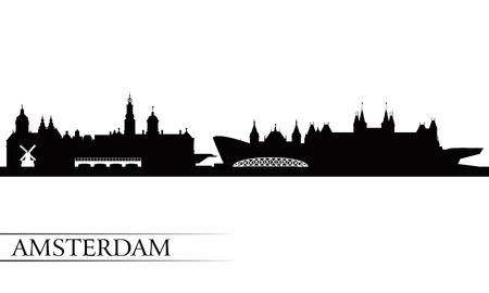 Amsterdam city skyline silhouette background, vector illustration Vector