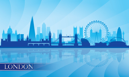 London Skyline Silhouette Hintergrund, Vektor-Illustration Standard-Bild - 27532847