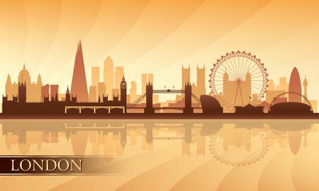 런던 도시의 스카이 라인, 실루엣, 배경, 벡터 일러스트 레이 션 스톡 콘텐츠 - 27532850