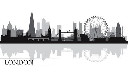 londre nuit: La ville de Londres skyline silhouette, illustration vectorielle