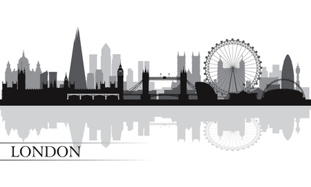 city  buildings: London city skyline silhouette background, vector illustration