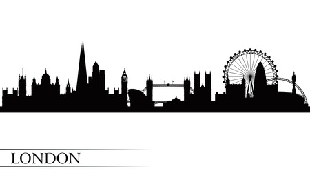 london night: London city skyline silhouette background, vector illustration