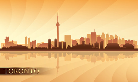 toronto: Toronto city skyline silhouette background, vector illustration  Illustration