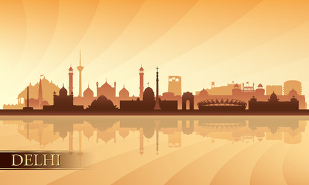 india city: Delhi city skyline silhouette background, vector illustration