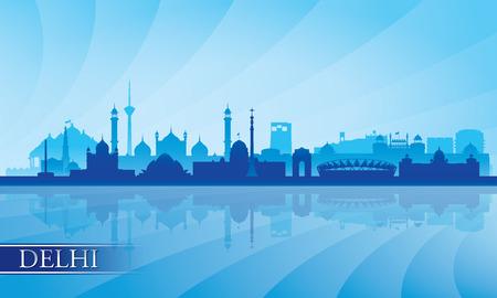 Delhi stad skyline silhouet achtergrond Stock Illustratie
