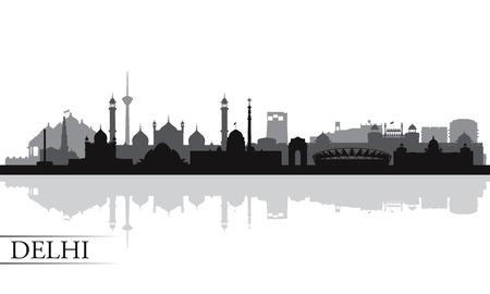 south east asia: Delhi city skyline silhouette background