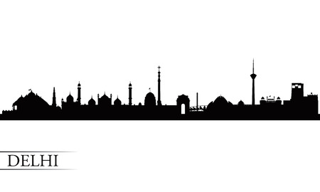 city skyline night: Delhi city skyline silhouette background