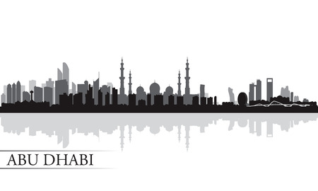 Abu Dhabi city skyline silhouette background,