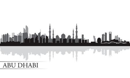 night skyline: Abu Dhabi city skyline silhouette background,