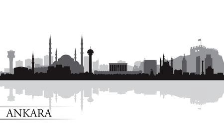 Ankara stad skyline silhouet achtergrond