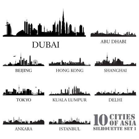 Set of skyline cities silhouettes. 10 cities of Asia #1. Vector illustration.