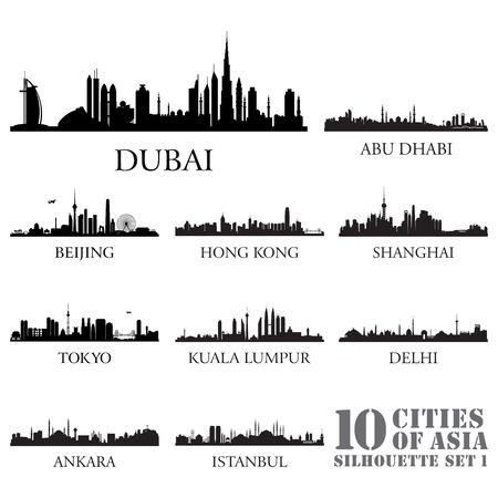 Set van skyline steden silhouetten. 10 steden in Azië # 1. Vector illustratie.