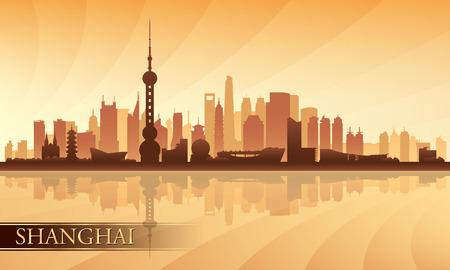 Shanghai city skyline silhouette background, vector illustration  Vector