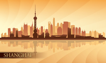 shanghai skyline: Shanghai city skyline silhouette background, vector illustration