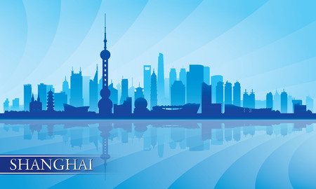 Shanghai city skyline silhouette background, vector illustration
