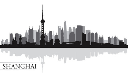 shanghai skyline: Shanghai city skyline silhouette background, vector illustration