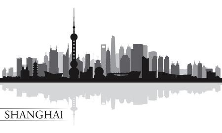 Shanghai Skyline der Stadt Silhouette Hintergrund, Vektor-Illustration Standard-Bild - 29451691