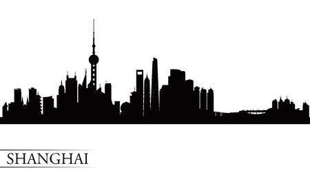 Shanghai city skyline silhouette background, vector illustration  イラスト・ベクター素材