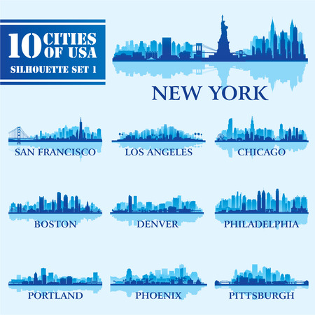 Денвер: Силуэт города набор США 1 на синем. Векторное изображение