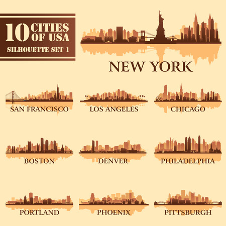 Silhouette city set of USA 1 on brown. Vector illustration  イラスト・ベクター素材