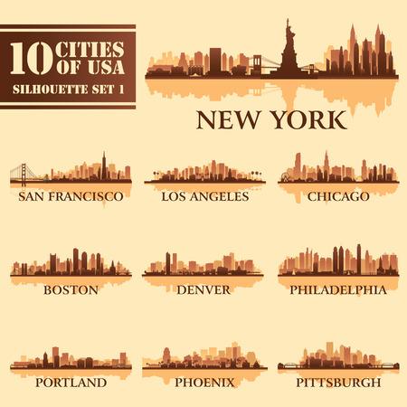 Het silhouet van de stad set van USA 1 op bruin. Vector illustratie Stock Illustratie