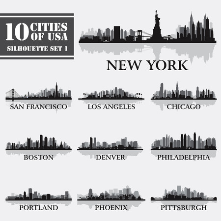 Silhouette city set of USA 1 on grey. Vector illustration  イラスト・ベクター素材