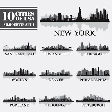 Het silhouet van de stad set van USA 1 op grijs. Vector illustratie