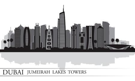 emirates: Dubai Jumeirah Lakes Towers skyline silhouette background, City illustration  Illustration