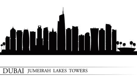 Dubai Jumeirah Lakes Towers skyline silhouette background, City illustration