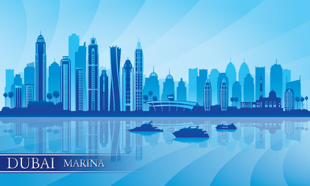 Dubai Marina City skyline silhouette background, vector illustration  Vector