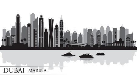 Dubai Marina City skyline silhouette background, vector illustration