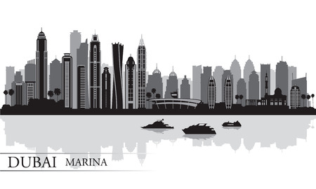 Dubai Marina City skyline silhouette background, vector illustration  Vector