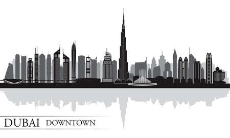 Dubai Downtown City skyline silhouette background, vector illustration Ilustrace