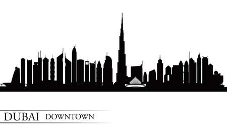 uae: Dubai Downtown City skyline silhouette background, vector illustration Illustration