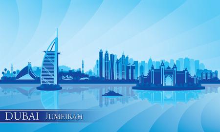 Dubai Jumeirah skyline silhouet achtergrond, vector illustratie