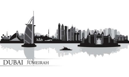 panoramic beach: Dubai Jumeirah skyline silhouette background, vector illustration