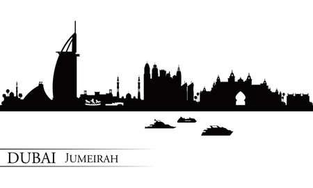 high detailed: Dubai Jumeirah skyline silhouette background, vector illustration