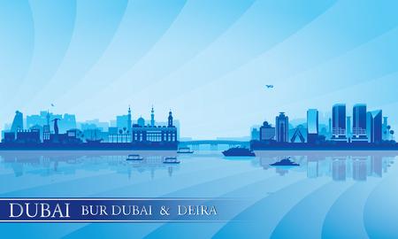 Dubai Deira and Bur Dubai skyline silhouette background, vector illustration